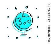 desktop globe icon. simple thin ...