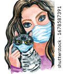 watercolor girl with a cat in... | Shutterstock . vector #1678587391