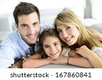 portrait of happy family at home | Shutterstock . vector #167860841