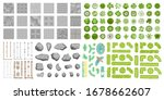 set of park elements.  top view ... | Shutterstock .eps vector #1678662607