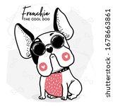 happy cool cute french bulldog...   Shutterstock .eps vector #1678663861