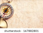 old treasure map with compass | Shutterstock . vector #167882801