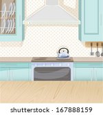 interior of kitchen in blue... | Shutterstock .eps vector #167888159
