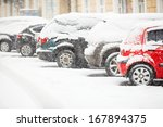 Cars Covered With Fresh White...
