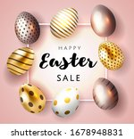 happy easter card with... | Shutterstock .eps vector #1678948831