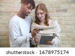 millennials using smartphone... | Shutterstock . vector #1678975174