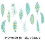 Feathers Icons Clipart Set In...