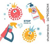 set of disinfection coronavirus.... | Shutterstock .eps vector #1679028244