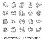 coronavirus line icons. medical ... | Shutterstock .eps vector #1679043844
