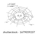 a doodle drawing of a spider... | Shutterstock .eps vector #1679059237