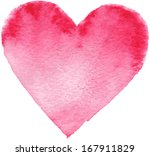 hand drawn painted red heart ... | Shutterstock . vector #167911829