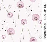 seamless watercolor dandelions... | Shutterstock . vector #1679384137