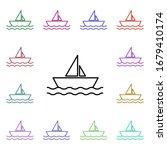 sailboat multi color style icon....