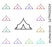 tent multi color style icon....
