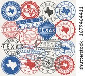 texas  usa set of stamps.... | Shutterstock .eps vector #1679464411