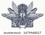 ancient totem and wings  tattoo ... | Shutterstock .eps vector #1679468017