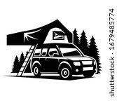 Campervan In The Forest Vector...