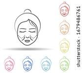 woman  cheek wrinkle in multi...