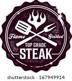 vintage grilled steak menu stamp   Shutterstock .eps vector #167949914