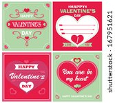 valentines day cards with... | Shutterstock .eps vector #167951621