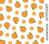 pattern fruit.cute smile orange ... | Shutterstock .eps vector #1679523307