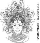 tribal fusion boho goddess.... | Shutterstock .eps vector #1679591611