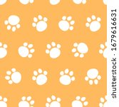 Seamless Pattern Of Paw Prints...