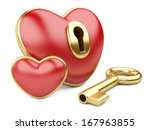 red valentine heart  with a keyhole and key. Isolated on white background - stock photo