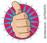 vintage pop art thumbs up.... | Shutterstock .eps vector #167964551