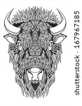 Bison Mascot Head Tattoo
