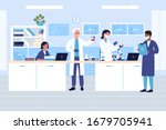 Group scientists in medical or chemical laboratory flat vector illustration. People in protective gloves, masks, lab coats with flasks doing research tests. Drug development, science experiment - stock vector