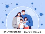family in medical masks stands... | Shutterstock .eps vector #1679745121