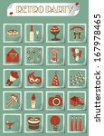 retro party icons set on grunge ... | Shutterstock .eps vector #167978465
