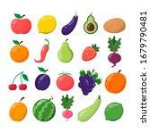 fruit and vegetable set. lemon  ...   Shutterstock . vector #1679790481