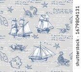 Vintage Sailboat  Sea Monster....