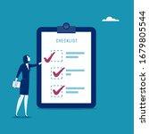 checklist. the assistant checks ... | Shutterstock .eps vector #1679805544
