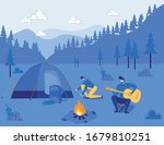 campfire with people setting... | Shutterstock .eps vector #1679810251