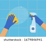 cleaning concept. hand in blue... | Shutterstock .eps vector #1679846941