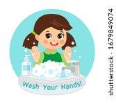 Cute Young Girl Washing Hands...