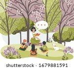 Female characters read book, tell story for children, woman, kids, dog sit forest, city park, grass place, vector illustration. Design web banner, template. Tree garden, cheerfully relax.