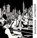 Vector illustration of ta jazz band playing in New York - saxophone - singer - contrabass - piano
