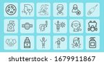 mask line icon set on theme... | Shutterstock .eps vector #1679911867