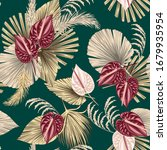 tropical floral boho dried palm ... | Shutterstock .eps vector #1679935954