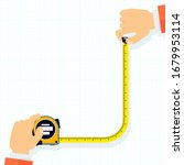 measuring tape in the hands of... | Shutterstock .eps vector #1679953114
