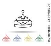 tiara multi color icon. simple...
