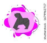 gorilla colored origami style...