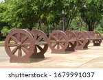Wheel wooden bench at Quezon Memorial Circle park in Philippines