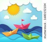 origami boat. cut paper ocean... | Shutterstock .eps vector #1680152104