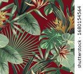 exotic strelitzia  bird of...   Shutterstock .eps vector #1680154564