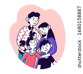 happy family portrait. couple... | Shutterstock .eps vector #1680158887